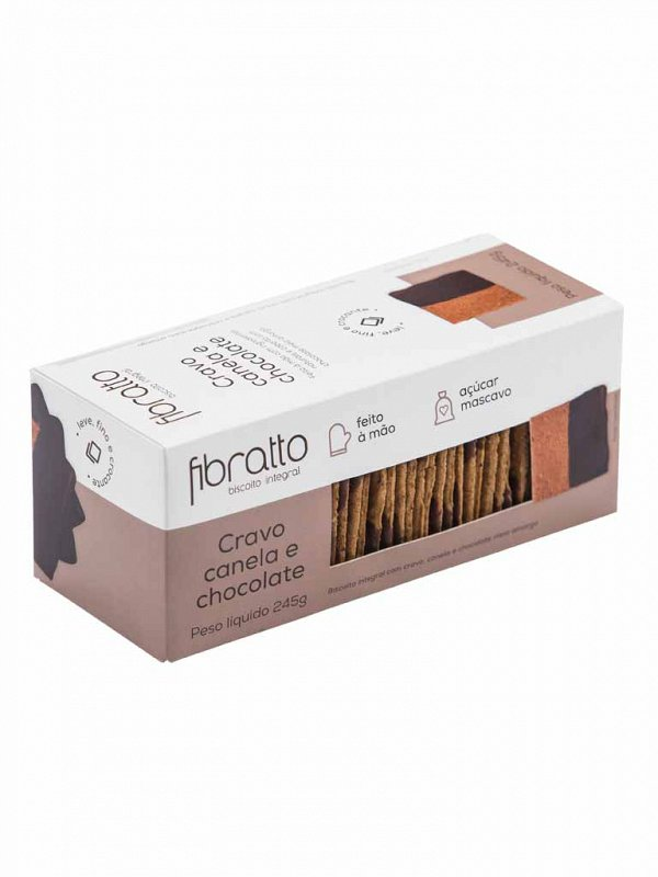 Biscoito Integral de Cravo Canela e Chocolate 245g Fibratto